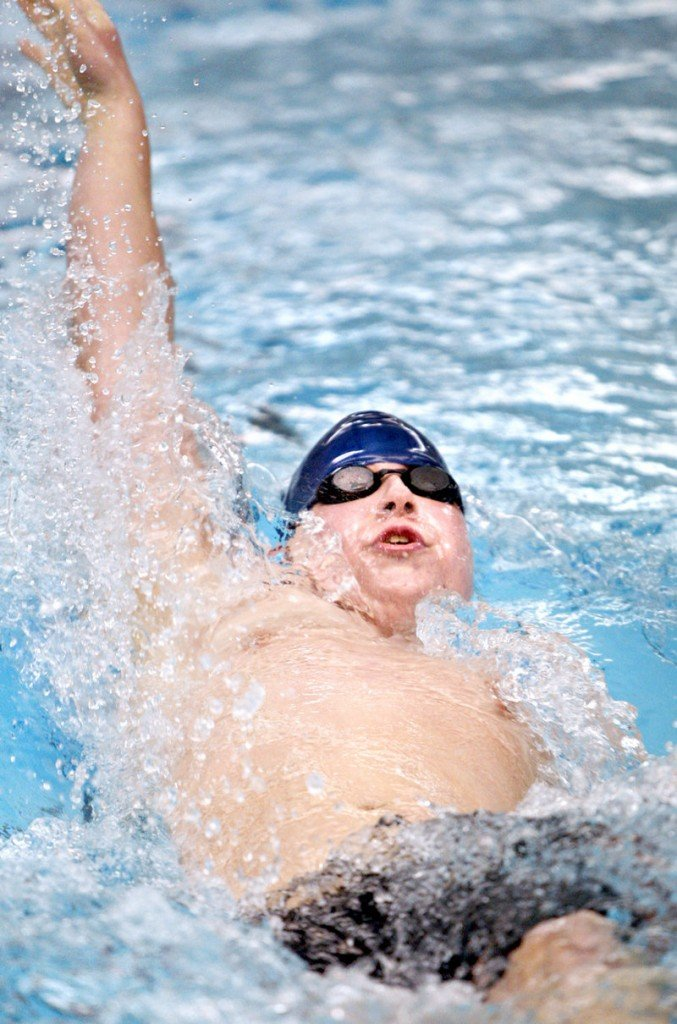 Conner Lajoie of Yarmouth glides through the water while doing the backstroke portion of the 200-yard individual medley preliminary race. Lajoie finished 11th in the state. Cameron Fadley of Foxcroft Academy won.
