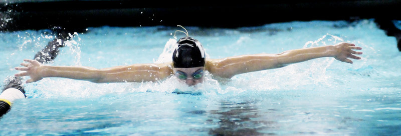 Colby Harvey, competing for Waynflete in a 100 butterfly prelim, went on to capture the state championship in the event in a time of 55.72 seconds at Bowdoin College.