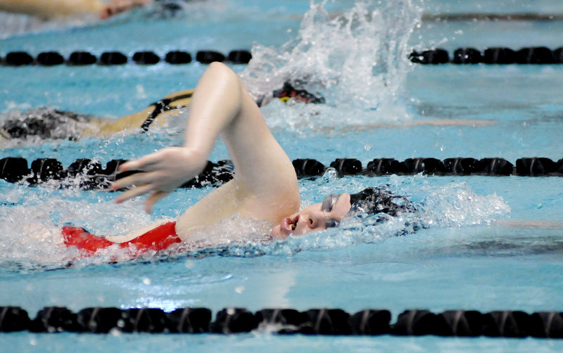 Libby Gajewski of McAuley finished third in the 500-yard freestyle in 5 minutes, 32.59 seconds. Amealia Deady of Waynflete was the winner in the event.