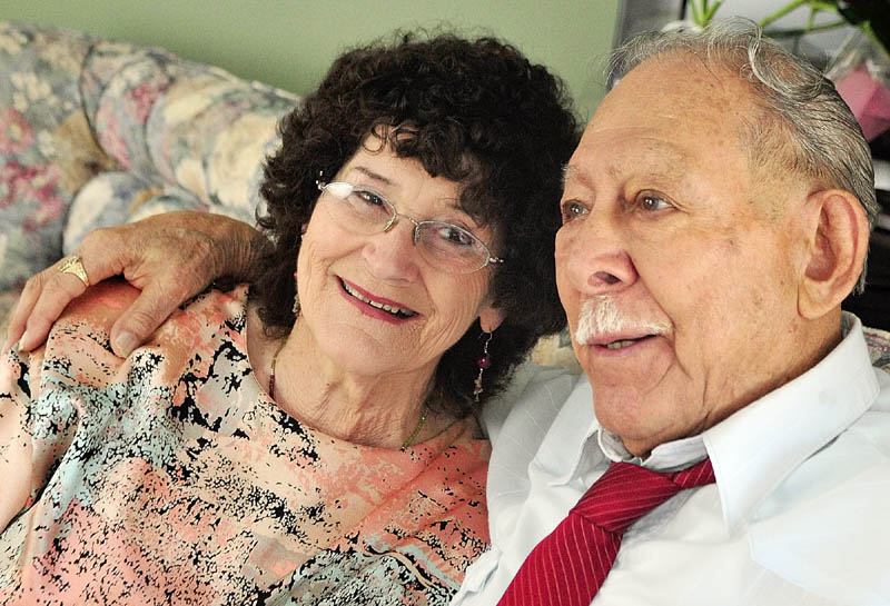Evelyn White, left, and Don Lucero decided to get married on Valentine's Day after being together for 32 years. They started dating in 1980.