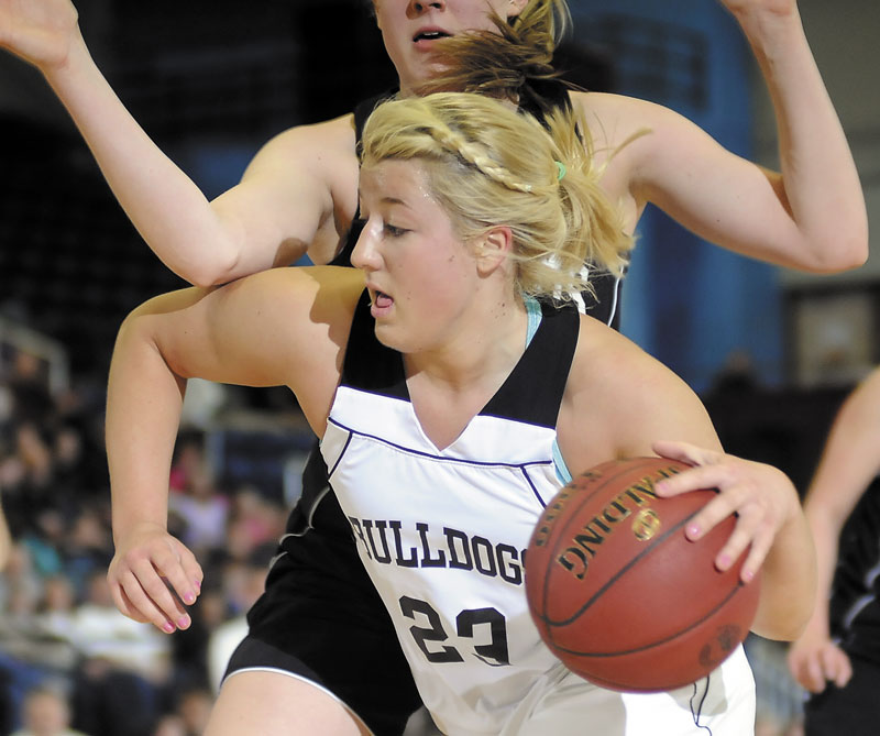 LEADING THE WAY: Hall-Dale High School's Carylanne Wolfington scored 21 points, including the 1,000 of her career, as the Bulldogs beat St. Dominic 45-32 in the Western C quarterfinals Tuesday.