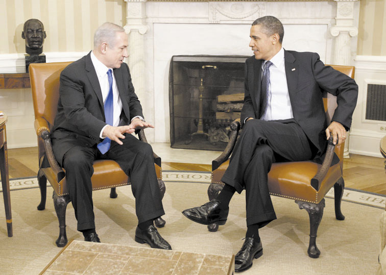 DIPLOMACY: President Barack Obama meets with Israeli Prime Minister Benjamin Netanyahu in the Oval Office at the White House in Washington on Monday.