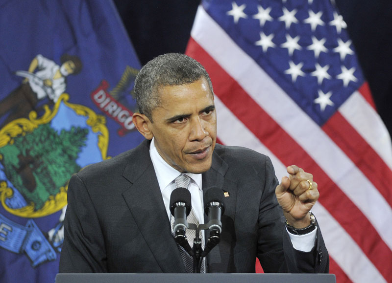 VISIT: President Barack Obama speaks Friday at Southern Maine Community College in South Portland.