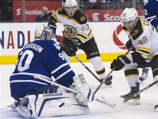 Toronto Maple Leafs goalie Jonas Gustavsson, left, makes a save on Boston Bruins forward Jordan Caron, right, as Bruins forward Brad Marchand, centre, looks on during first period Tuesday in Toronto. Canada;Canadian;sports;play;ice hockey;game;action;competitive;competition;compete;athletics;athletic;athlete;National;League;hockey;NHL;2012