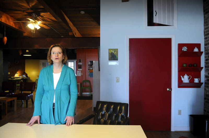 Sara Martin, a historic preservationist, is sharing office space in Gardiner with several other individuals in the CoLab next to Renys.
