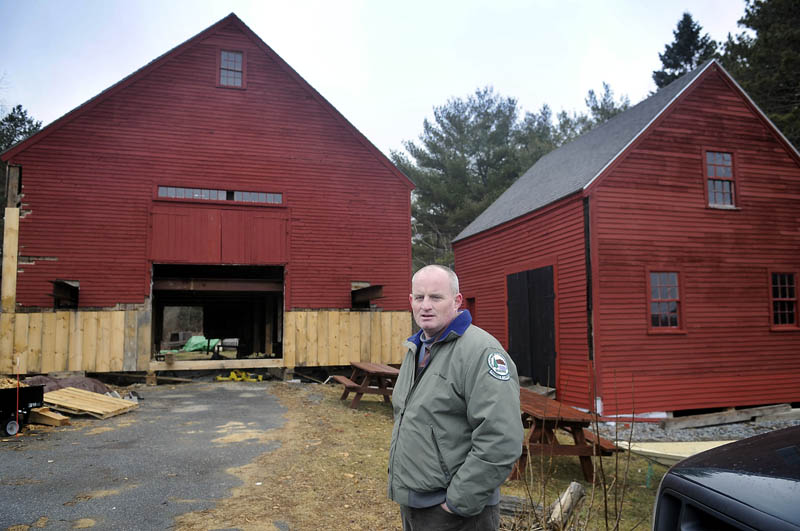 Maine Bureau of Parks and Lands historian Tom Desjardin hopes to have the restoration of the 1765 Reuben Colburn homestead in Pittston completed by June. The state has spent approximately $200,000 over the last three years repairing the historic home, barns and carriage house on the Kennebec River.