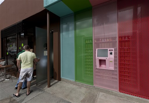 The new 24-Hour cupcake ATM will be continuously restocked to dispense fresh cupcakes at Sprinkles Cupcakes in Beverly Hills, Calif.