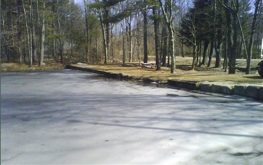 Ice partially covers Jew Pond in Mont Vernon, N.H., on Monday. Residents can vote at a town meeting today whether to petition to officially change the name, which appears on a 1968 map but not on any town signs. Some say the name is inappropriate and disrespectful. Others says it was never meant to be offensive and is part of the town's history.