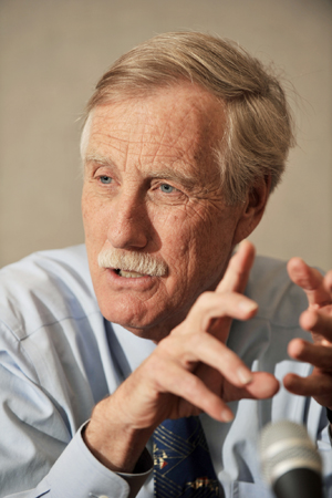 Former Maine Gov. Angus King speaks to reporters and editors today in the offices of MaineToday Media.