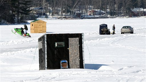 Brettons Pond in Livermore was busy Wednesday with ice fishing season coming to a close.