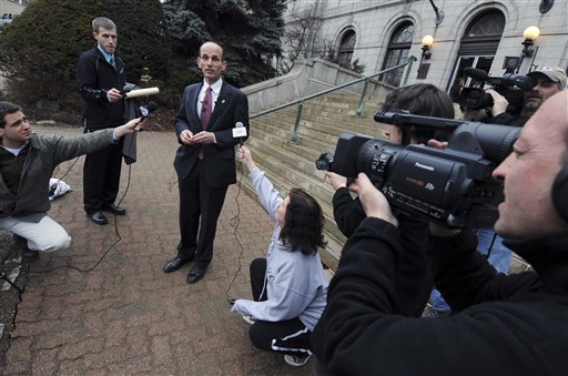 Former Maine Gov. John Baldacci speaks during a news conference on the steps of Bangor City Hall today.