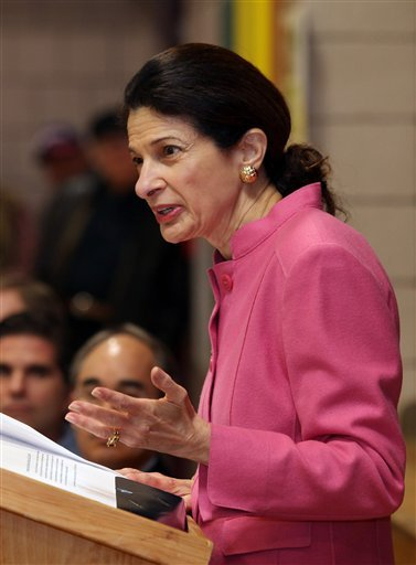 Sen. Olympia Snowe, R-Maine, speaks during the Kennebec County Super Caucus in Augusta in this Feb. 4, 2012, photo,