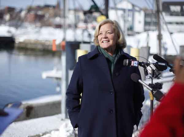 PONDERING A JUMP: U.S. Rep. Chellie Pingree, D-Maine, speaks at a news conference Friday in Portland. Pingree is considering a run for the Senate seat being vacated by Sen. Olympia Snowe, R-Maine.