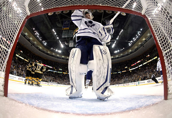 ROUGH NIGHT AT WORK: Jonas Gustavsson replaced Toronto goalie James Reimer, who had stopped only five of nine shots, during an 8-0 loss to the Boston Bruins on Monday night in Boston.