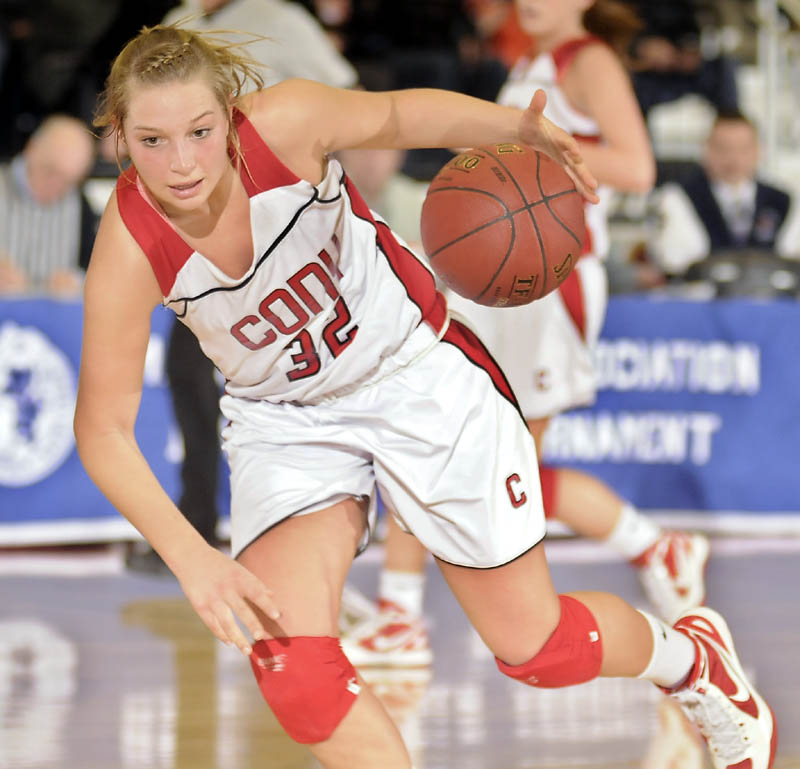 LEADING THE WAY: Cony High School's Mia Diplock averaged 16.2 points and 4.8 assists this season. The Rams will play McAuley at 4 p.m. Saturday at the Cumberland County Civic Center for the Class A state championship.