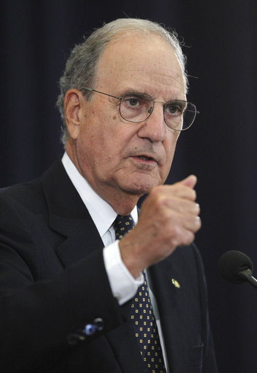 In this September 2010 photo, Special Envoy for Middle East Peace George Mitchell briefs reporters the State Department in Washington. Mitchell is a former U.S. Senator from Maine. (AP Photo/Charles Dharapak)
