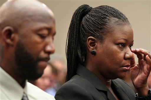 Trayvon Martin's mother, Sybrina Fulton, and father, Tracy Martin, attend a House Judiciary Committee briefing on racial profiling and hate crimes today on Capitol Hill.