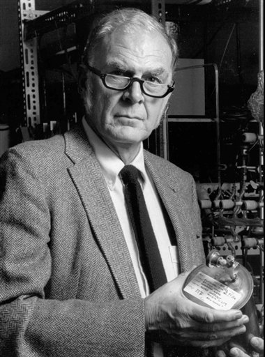 A 1989 photo provided by the University of California Irvine shows F. Sherwood Rowland, one of three chemists who discovered that a byproduct of aerosol sprays, deodorants and other consumer products could destroy Earth's atmospheric blanket.