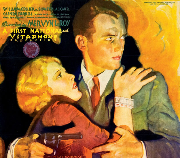 "Detail of a movie poster for the 1931 film ""Little Caesar,"" featuring Douglas Fairbanks Jr."