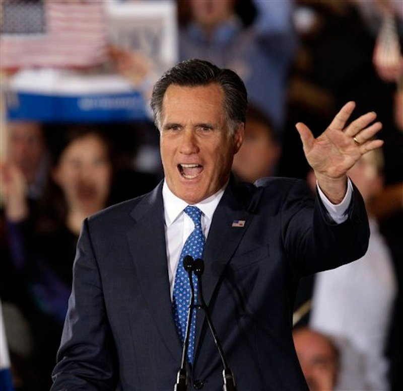 Republican presidential candidate Mitt Romney addresses supporters at his Super Tuesday campaign rally in Boston, Tuesday, March 6, 2012. (AP Photo/Stephan Savoia)