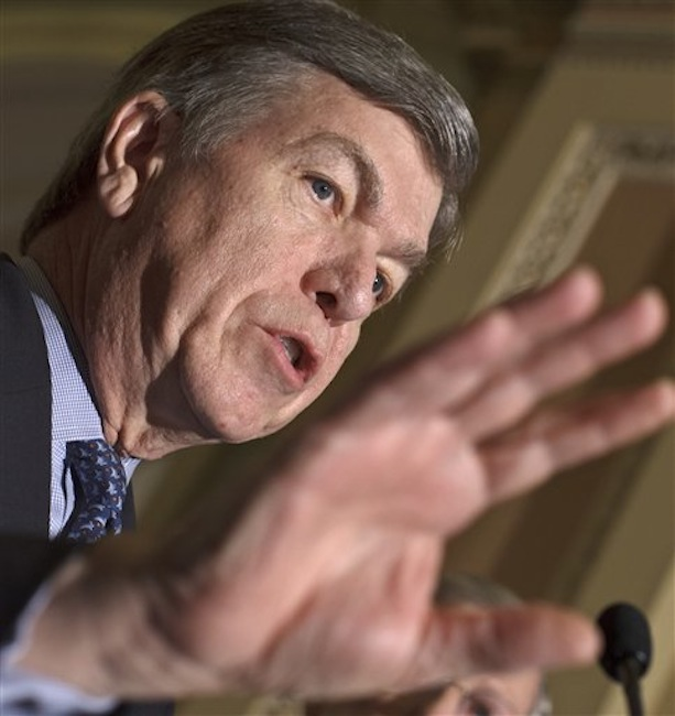 In this Feb. 28 photo, Sen. Roy Blunt, R-Mo., talks to reporters following a Republicans strategy session at the Capitol in Washington. The Senate was debating Republican legislation aimed at taking a bite out of President Barack Obama's health care law. The measure, sponsored by Blunt, would have allowed insurers and employers to opt out of any requirements to which they object on moral or religious grounds. (AP Photo / J. Scott Applewhite)