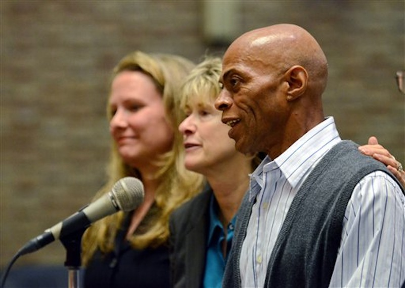 Edward Lee Elmore, right, is accompanied by his lead counsel Diana Holt, center, and previous counsel Marta Kahn, during his hearing on Friday, March 2, 2012 in Greenwood, S.C. Elmore, who spent 30 years in prison for murdering Dorothy Edwards, a crime that Elmore said he did not commit, was set free by Judge Frank Addy on Friday. (AP Photo/ Richard Shiro)