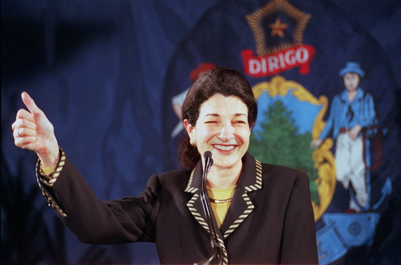 Olympia Snowe acknowledges the cheers of her supporters after claiming victory in her bid for re-election on 2000. Her retirement has set off a scramble for Maine's congressional seats.