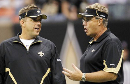 New Orleans Saints head coach Sean Payton, left, and defensive coordinator Gregg Williams talk during a 2010 game at the Louisiana Superdome in New Orleans.