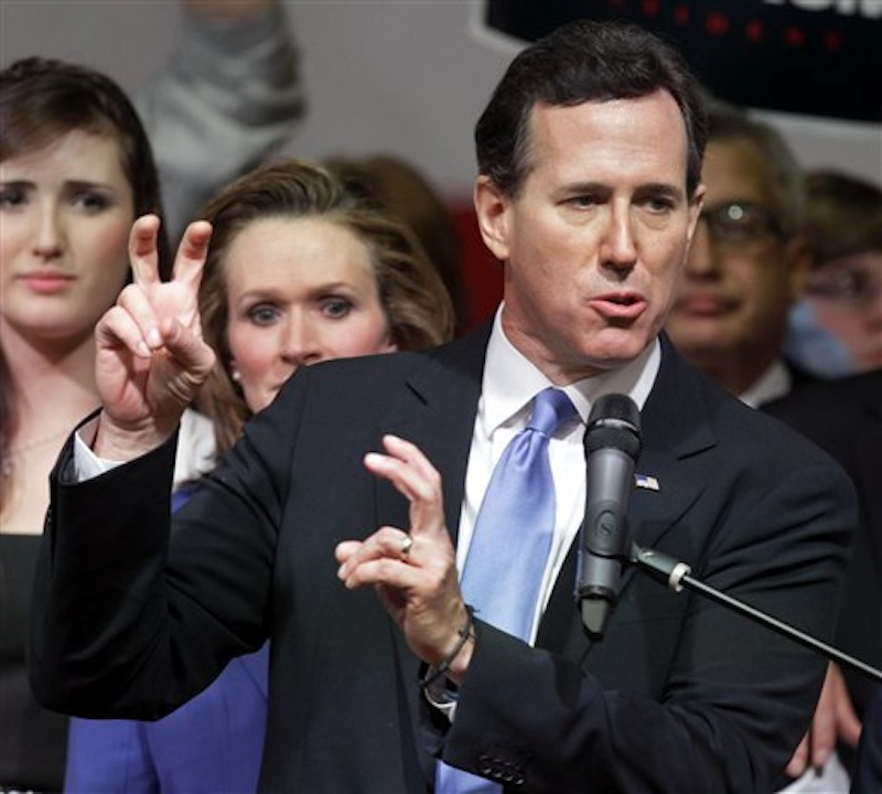 Republican presidential candidate Rick Santorum speaks to supporters at an election night party at Steubenville High School in Steubenville, Ohio, Tuesday, March 6, 2012. (AP Photo/Gene J. Puskar)
