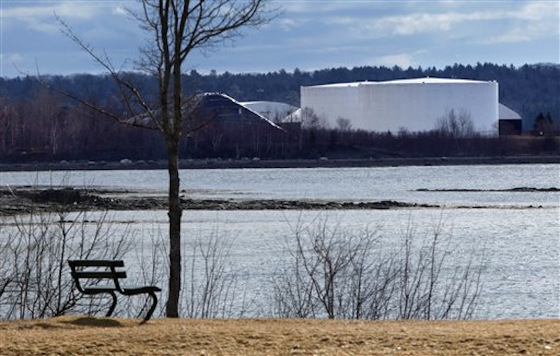 Fuel tanks are seen from a town park in Searsport on Friday. Townspeople on Saturday voted 297 to 165 against a moratorium that would have slowed or possibly derailed a proposal to build a 14-story-high storage tank for propane.