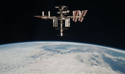 The International Space Station pictured at an altitude of about 220 miles above the Earth.