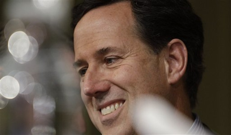 Republican presidential candidate Rick Santorum attends the Lincoln-Reagan Day Dinner at Bowling Green State Universityon Saturday, March 3, 2012, in Bowling Green, Ohio. (AP Photo/Eric Gay)