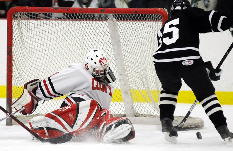 BIG YEAR: Cony High School goalie Matt Swan posted an .886 save percentage and a 2.05 goals against average this season as the Rams went 15-4-0 and earned a berth in the Eastern A regional sefmiainsl.