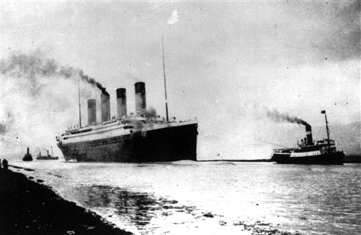 An April 10, 1912, photo of the Titanic departing Southampton, England, for her maiden Atlantic Ocean voyage to New York.