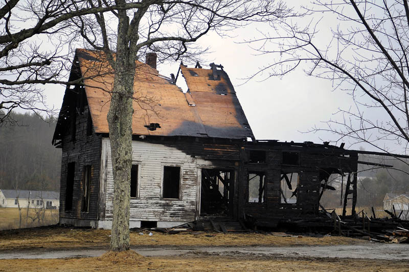 A farmhouse in West Gardiner was destroyed by fire Tuesday evening.