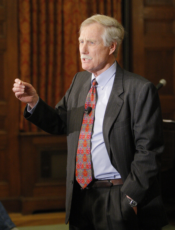 After a lecture at Bowdoin College Monday night on the Cuban Missile Crisis, Angus King announces that he is running for the U.S. Senate seat being vacated by Olympia Snowe.