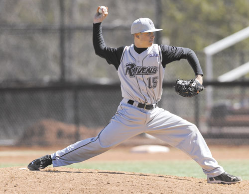 STEPPING UP: Hall-Dale graduate Ryan Leach is 4-1 with a 1.56 ERA for Franklin Pierce this season.