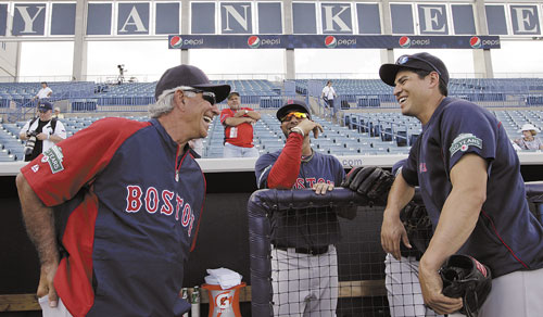 GLAD TO BE HERE: Boston Red Sox manager Bobby Valentine, left, chats with players Mike Aviles, center, and Jacoby Ellsbury before the team's spring training game against the New York Yankees on Tuesday at Steinbrenner Field in Tampa, Fla.