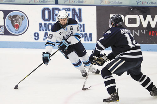 STEPPING UP HIS GAME: Maine's Spencer Abbott leads Division I in scoring with 20 goals and 39 assists.