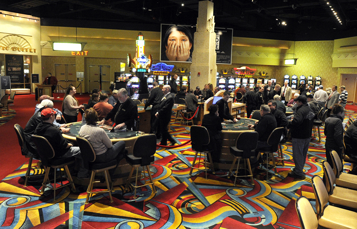 The scene this morning as the first day of table games got under way at Hollywood Casino Hotel and Raceway in Bangor.