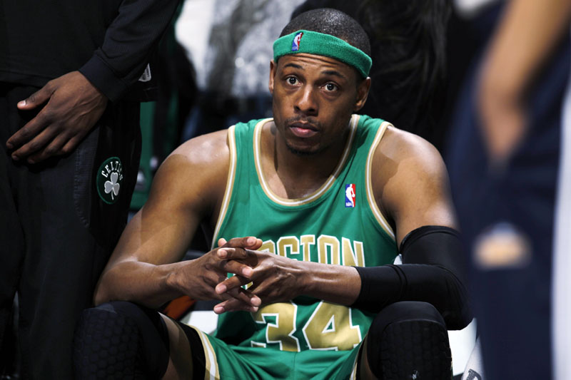 TOUGH TRIP: Boston Celtics forward Paul Pierce sits on the bench after fouling out late in the fourth quarter in the Nuggets' 98-91 victory Saturday in Denver.