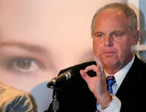 "Radio talk-show host Rush Limbaugh speaks during a Miss America news conference in 2010. Limbaugh drew fire Friday from many directions for his depiction of a college student as a ""slut"" and ""prostitute"" because she testified before Congress about the need for contraceptive coverage."