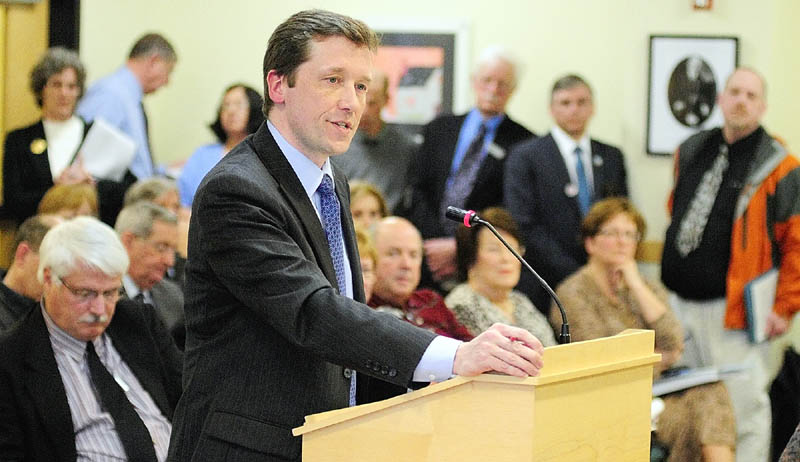 """Commissioner of Education Steve Bowen testifies in a crowded hearing room before the Legislature's Education Committee about LD 1858 """"An Act to Ensure Effective Teaching and School Leadership,"""" on Wednesday afternoon in the Cross State Office Building in Augusta."""