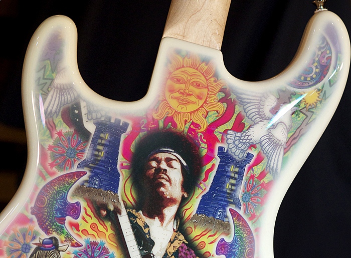 A Jimi Hendrix Signature Series Edition 29 Fender Stratocaster with artwork by Alan Aldridge.
