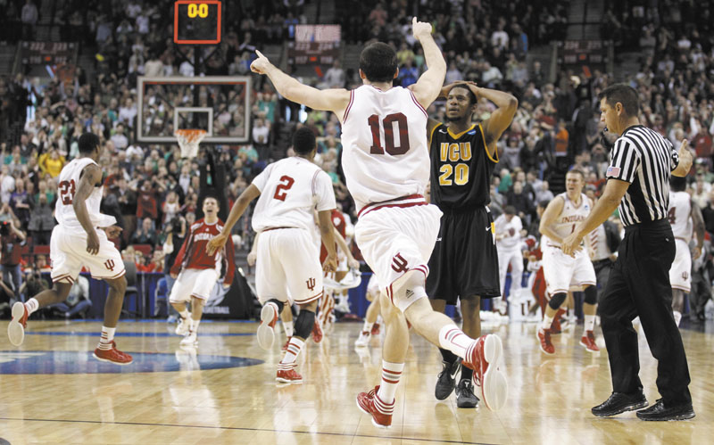 REMATCH: Indiana celebrates its win over VCU in the third round of the NCAA men's basketball tournament. The Hoosiers face Kentucky in the Sweet 16. Indiana beat Kentucky on a buzzer beater earlier this season.