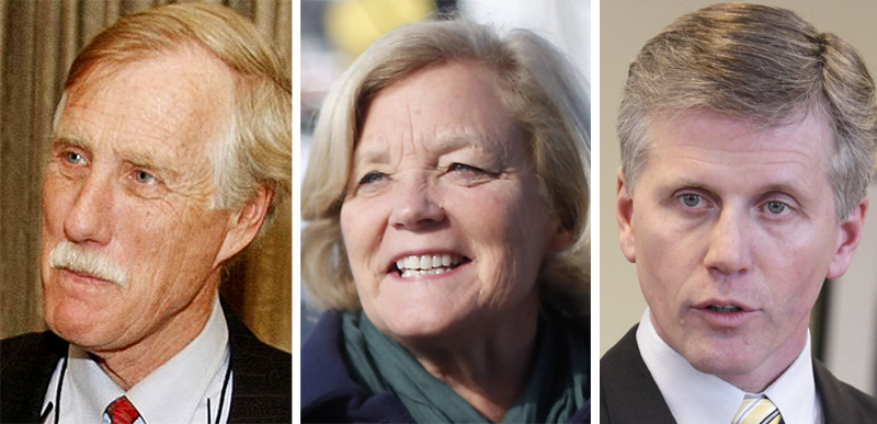 Former independent Gov. Angus King, left, Democratic Rep. Chellie Pingree and Secretary of State Charlie Summers, a Republican.