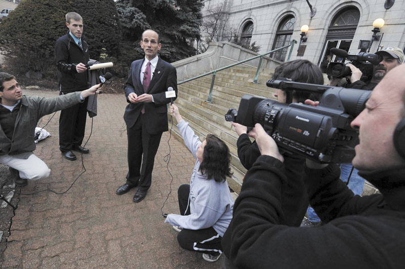 Former Maine Governor John Baldacci speaks Wednesday during a news conference on the steps of City Hall in Bangor, Maine. Former Gov. John Baldacci said Wednesday that he won't run for the U.S. Senate, becoming the third prominent Democrat to bow out of the high-profile race for a Senate seat that Democrats were given good odds of winning following Republican Olympia Snowe's decision to retire from the Senate.
