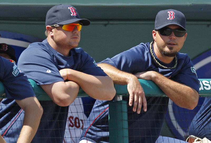 READY TO GO: Boston Red Sox pitchers Josh Beckett, right, and Jon Lester watch from the dugout rail during a spring training game against the Minnesota Twins on Monday in Fort Myers, Fla. Lester will start opening day, with Beckett lining up in the rotation to take the mound in the home opener at Fenway Park.