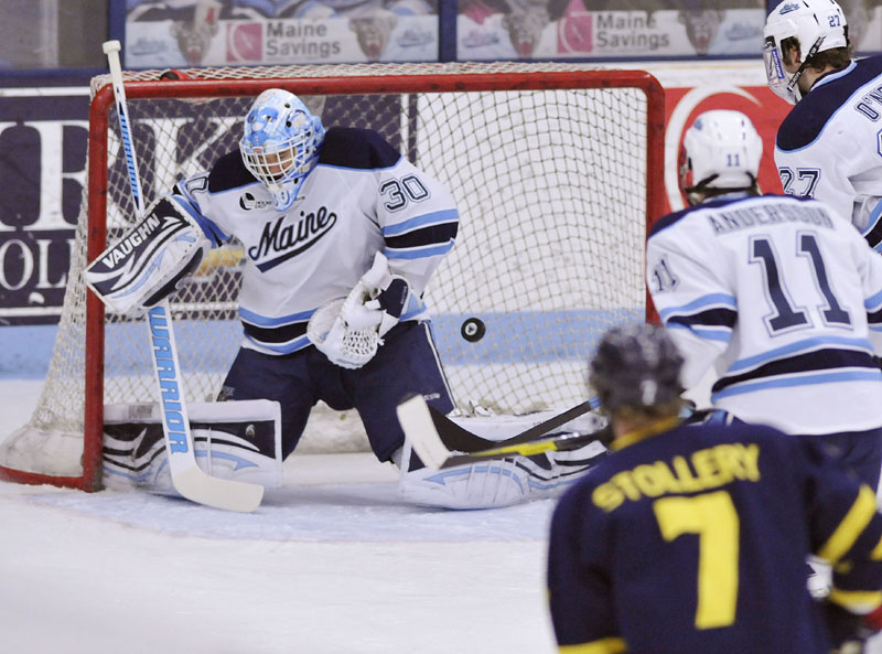 NO SMALL ROLE: Maine goalie Dan Sullivan has been a difference-maker for the Black Bears, as they recovered from a 3-6-2 start this season. Maine and Boston University meet tonight in the second semifinal game of the Hockey East tournament in Boston.
