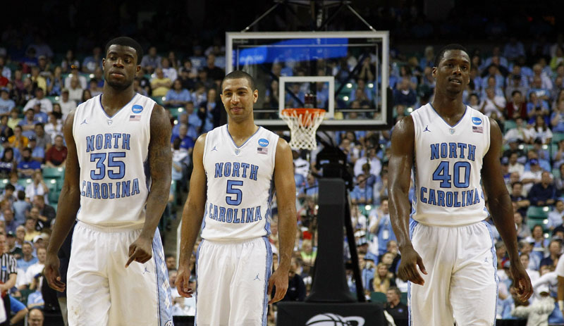 SUCCESSFUL SURGERY: North Carolina point guard Kendall Marshal, center, is recovering from surgery on his broken right wrist and it's unclear if he'll return for the NCAA regional games in St. Louis. NCAA